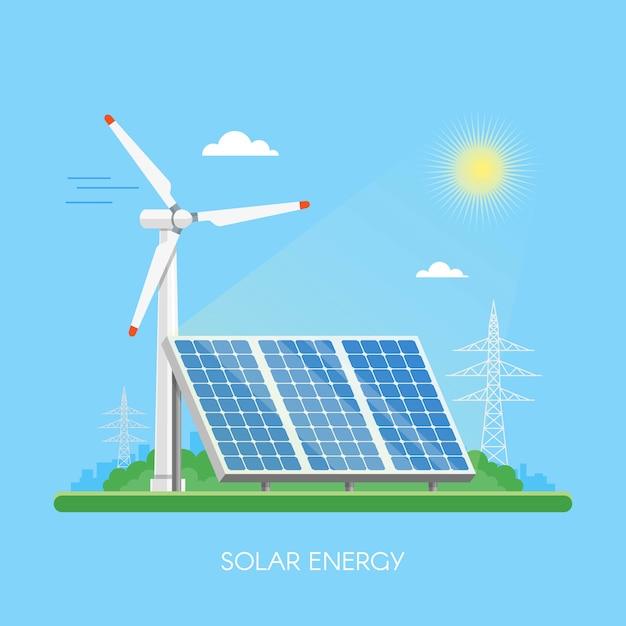Centrale solare e fabbrica. pannelli solari. concetto industriale di energia verde. Vettore Premium