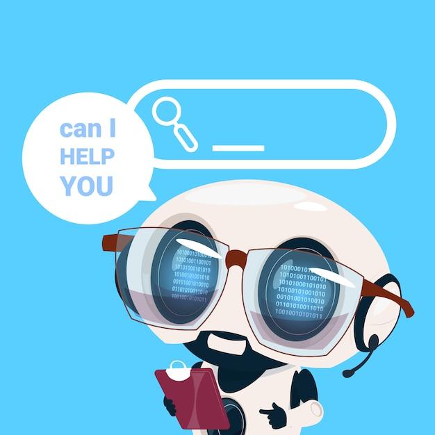 Centro assistenza auricolare agente robot cliente operatore online cliente intelligenza artificiale cliente e servizio tecnico icona chat concetto Vettore Premium