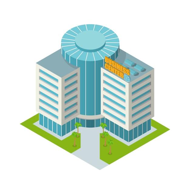 Centro business edificio isometrico Vettore gratuito
