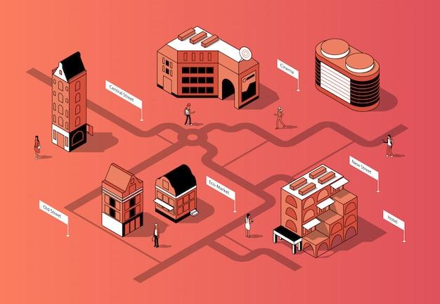 Centro città isometrica 3d. mappa urbana Vettore gratuito