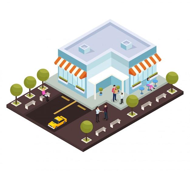 Centro commerciale isometrico con parcheggio Vettore gratuito