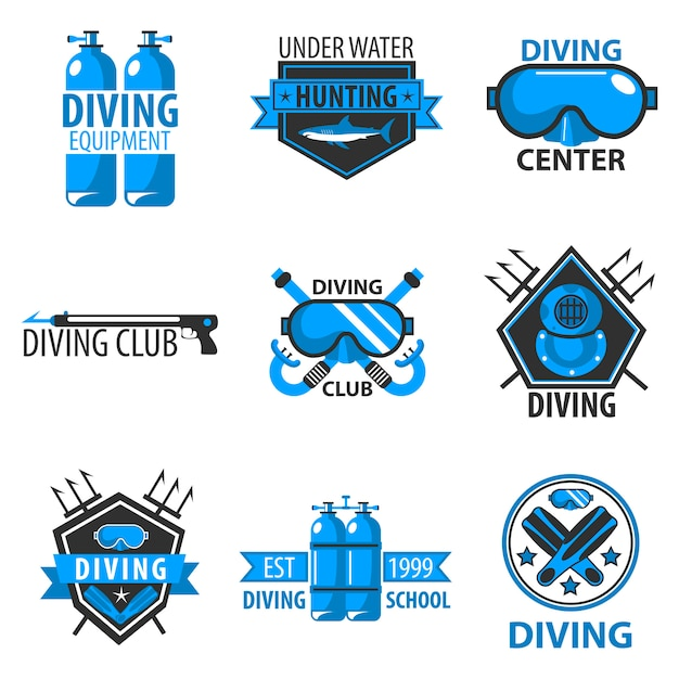 Centro di immersioni subacquee o vettore del club di caccia subacquea Vettore Premium