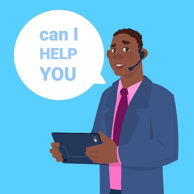 Centro di supporto auricolare agente africano uomo cliente operatore online cliente e servizio tecnico icona chat concetto Vettore Premium