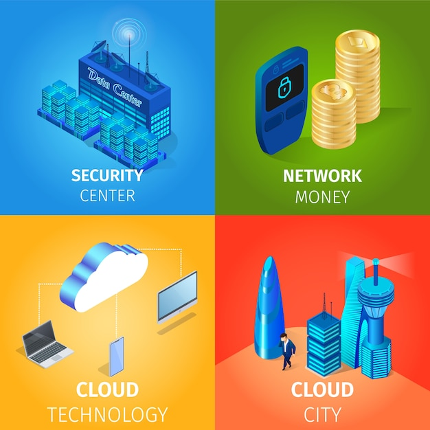 Centro sicurezza e denaro in rete Vettore Premium