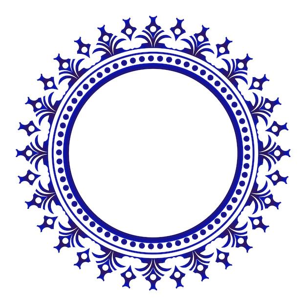Ceramica ornamentale blu rotonda Vettore Premium