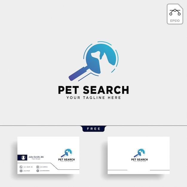 Cerca modello di logo animale domestico con stile di arte di linea Vettore Premium