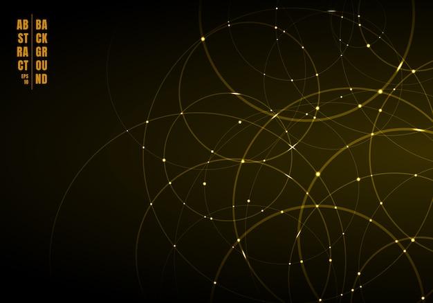 Cerchi astratti d'oro che si sovrappongono sullo sfondo. Vettore Premium