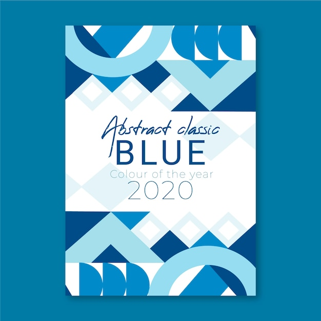 Cerchi e forme poligonali classico poster blu Vettore gratuito