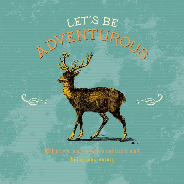 Cerchiamo di essere avventurosi logo design vettoriale Vettore gratuito