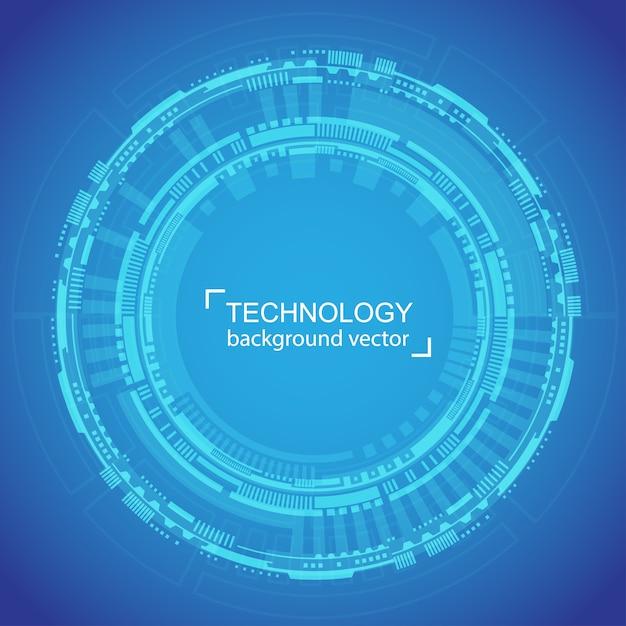 Cerchio astratto tecnologia sfondo blu Vettore Premium