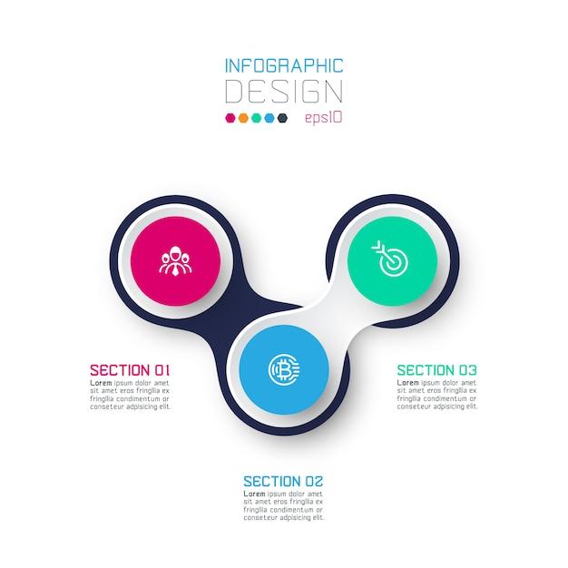 Cerchio collegato con infografica icona affari su sfondo bianco Vettore Premium