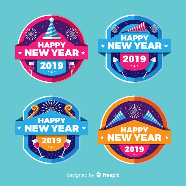 Cerchio collezione distintivi del nuovo anno Vettore gratuito