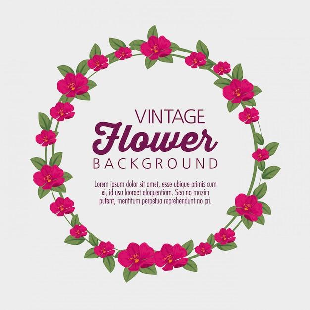 Cerchio con fiori piante e foglie Vettore gratuito