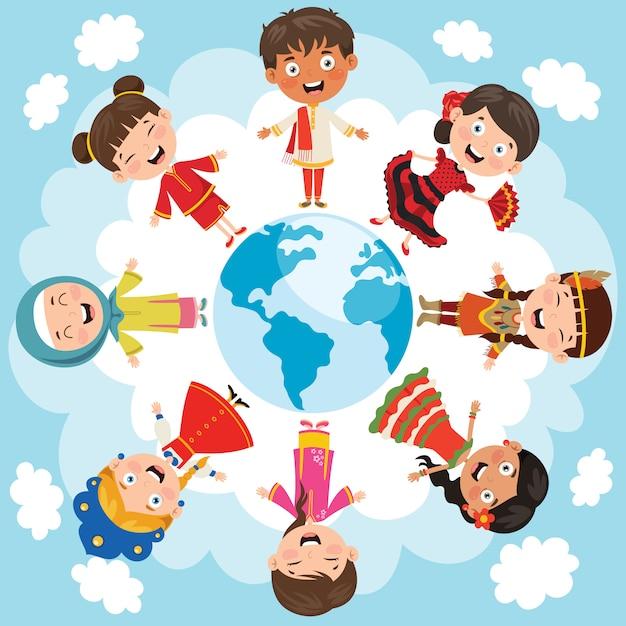 Cerchio di bambini felici diverse razze Vettore Premium