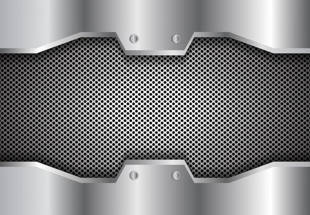 Cerchio di metallo sfondo 3d Vettore Premium