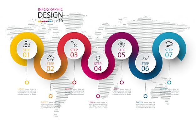 Cerchio etichetta infografica con sette passaggi Vettore Premium