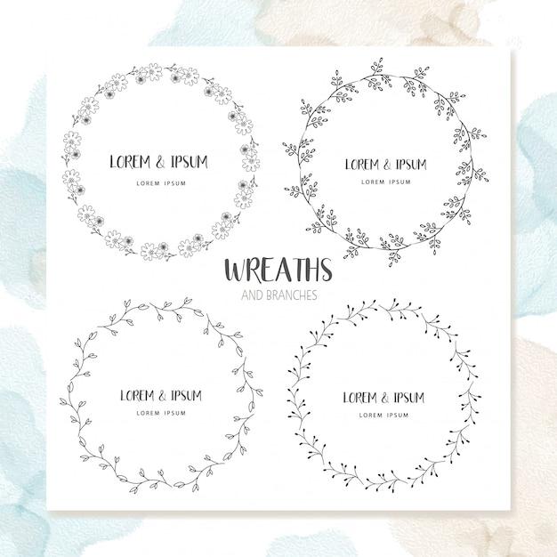 Cerchio floral frame design Vettore Premium