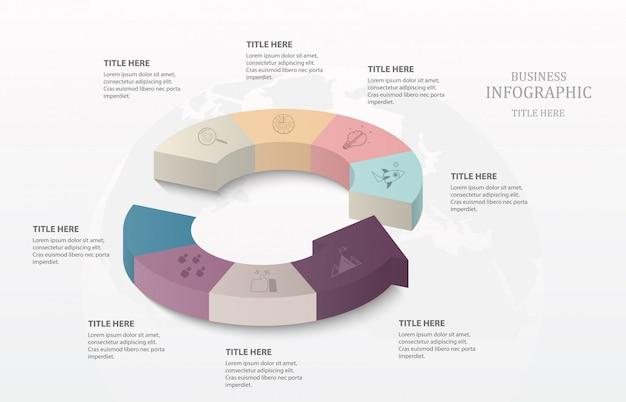 Cerchio infografica 3d Vettore Premium
