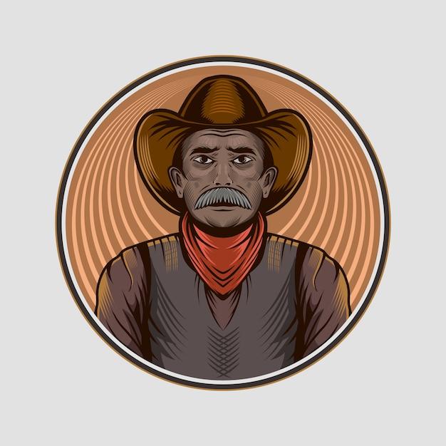 Cerchio isolato illustrazione dell'avatar dell'uomo anziano del cowboy Vettore Premium