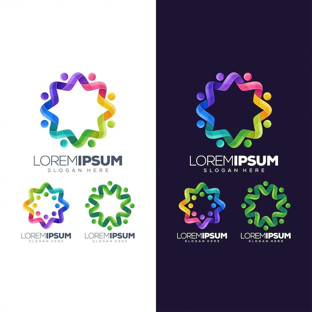 Cerchio logo colorato Vettore Premium
