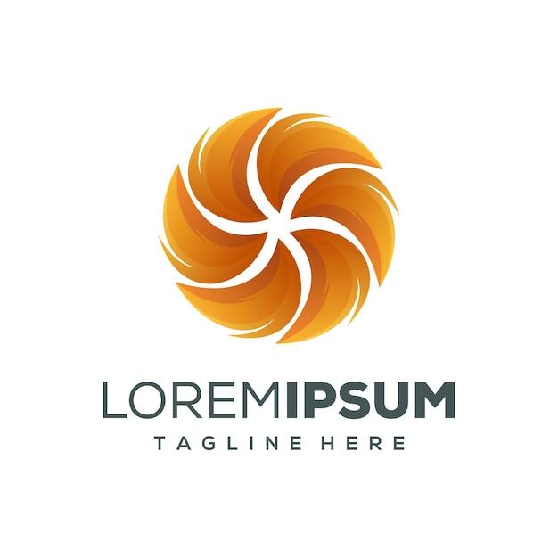 Cerchio logo design fuoco Vettore Premium