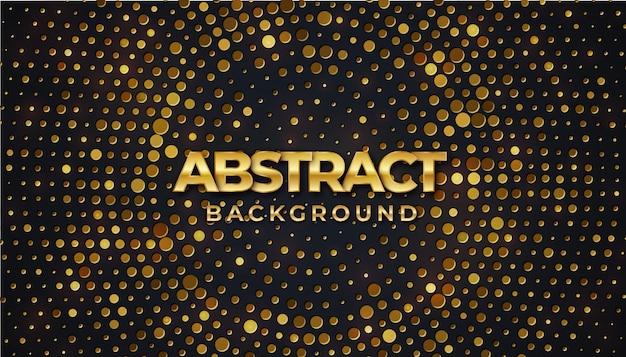 Cerchio nero con texture di sfondo con splendente motivo mezzetinte dorato Vettore Premium