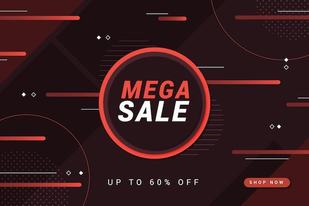 Cerchio rosso mega vendita e linee sfondo scuro Vettore gratuito