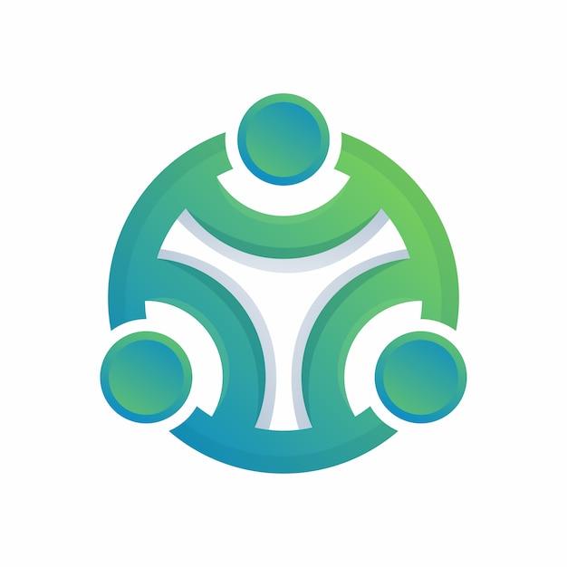 Cerchio umano logo astratto colorato Vettore Premium