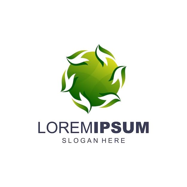 Cerchio verde logo vettoriale Vettore Premium