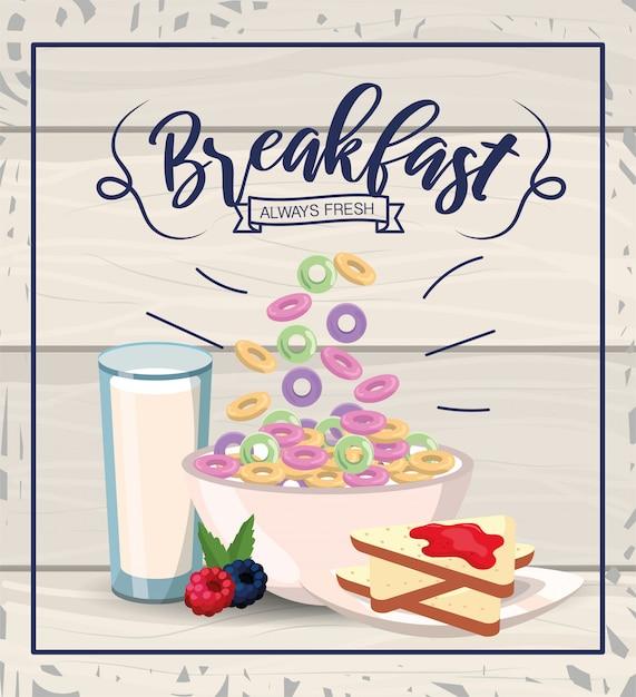 Cereali sani con fette di pane e bicchiere di latte Vettore Premium