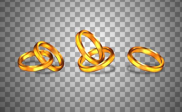 Cerimonia di fidanzamento anello d'oro Vettore Premium