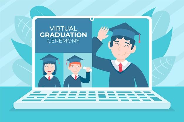 Cerimonia di laurea virtuale con laptop Vettore gratuito