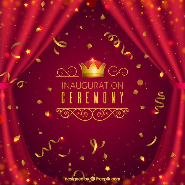 Cerimonia inaugurale realistica con confetti Vettore gratuito