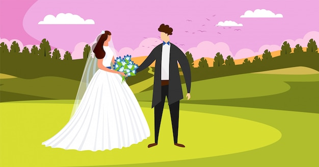 Cerimonia per il giorno del matrimonio. felice coppia di sposi. Vettore Premium