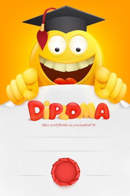 Certificato del modello del diploma con il personaggio dei cartoni animati di smiley giallo di emoji. . Vettore Premium
