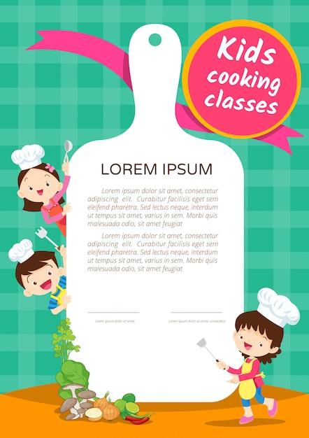 Certificato di classe di cucina per bambini Vettore Premium