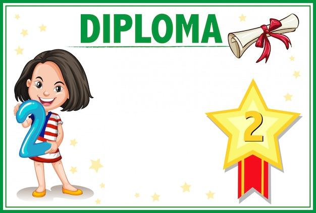 Certificato di diploma di due gradi Vettore gratuito