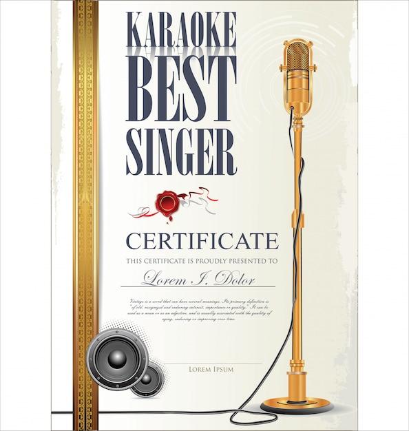 Certificato di karaoke Vettore Premium
