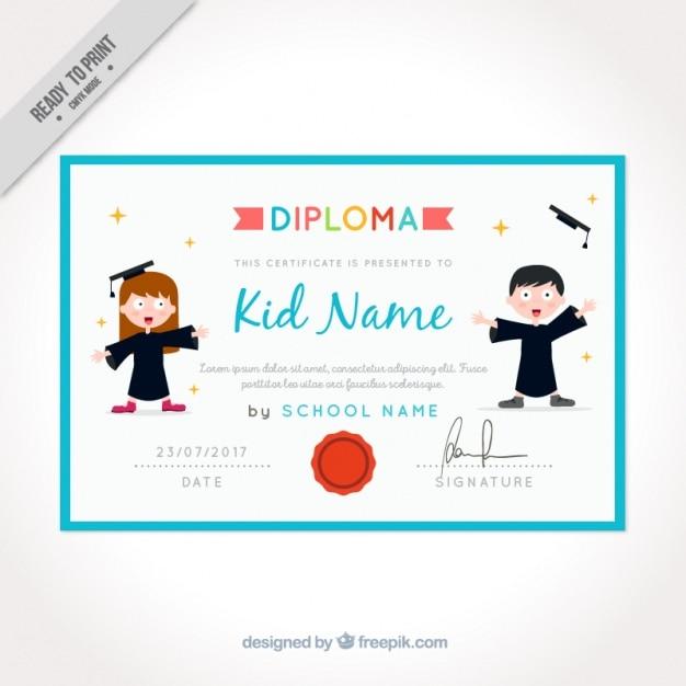 Certificato Di Laurea Per I Bambini Con Cornice Blu Scaricare