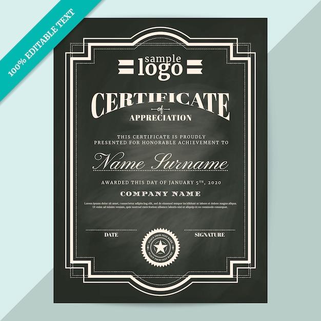Certificato di modello di apprezzamento Vettore Premium