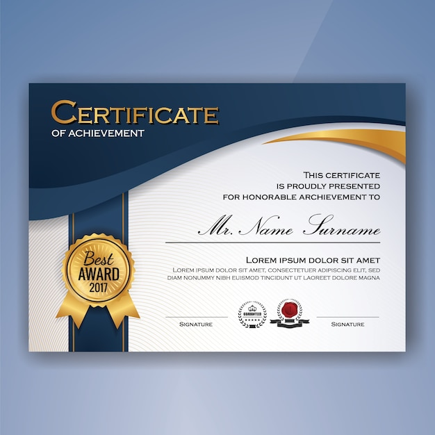 Certificato di modello di realizzazione Vettore gratuito