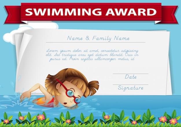 Certificato di premiazione di nuoto Vettore gratuito