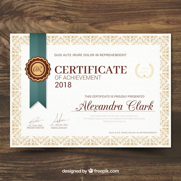 Certificato di riconoscimento in stile vintage Vettore gratuito