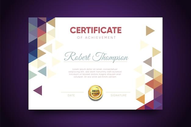 Certificato geometrico astratto modello Vettore gratuito