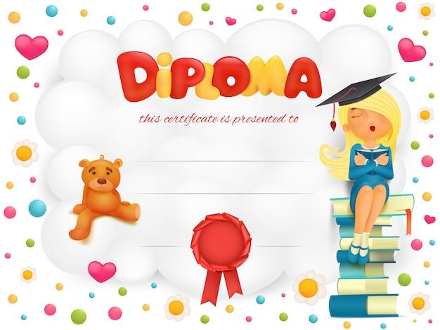Certificato modello diploma con ragazza studentessa e orsacchiotto. Vettore Premium