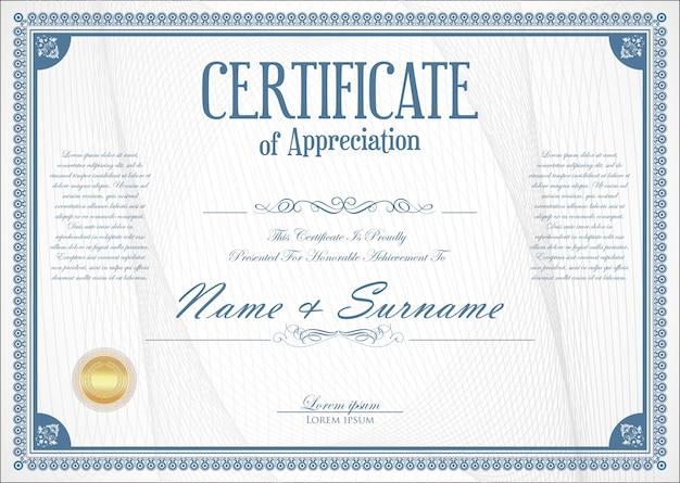 Certificato o diploma design retrò Vettore Premium