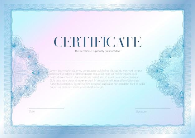 Certificato orizzontale con disegno del modello vettoriale guilloche e filigrana. diploma di design di diploma, premio, successo. Vettore Premium