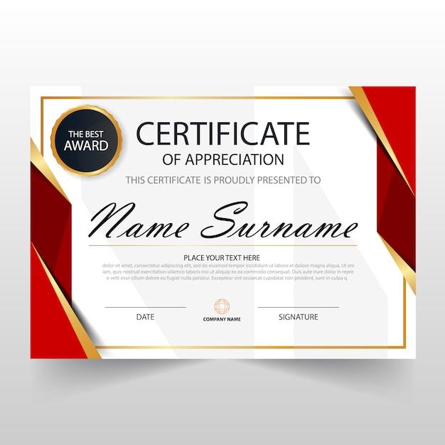 Certificato orizzontale rosso elegant con illustrazione vettoriale Vettore gratuito