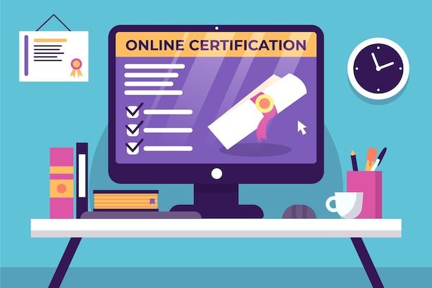 Certificazione online e ufficio con libri Vettore gratuito
