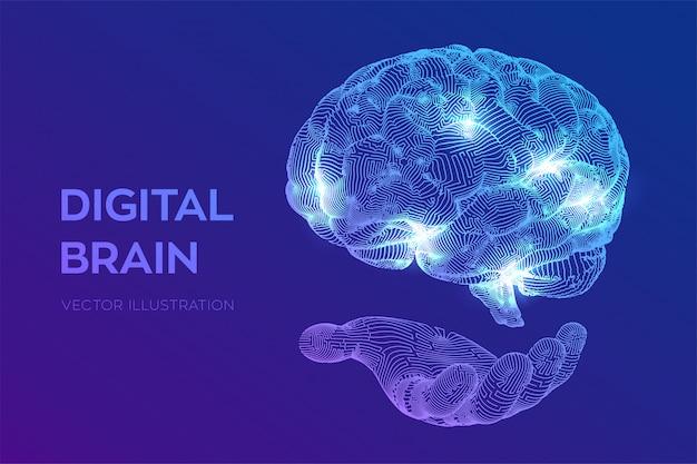 Cervello. cervello digitale in mano. rete neurale. Vettore gratuito